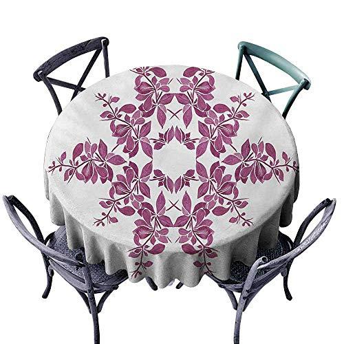 VIVIDX Round Tablecloth,Purple,Autumn Vine Bridal Flower Bouquet Vintage