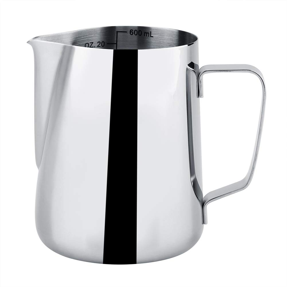 Milk Frothing Pitcher - Delaman Stainless Steel Measuring Frothing Cup, 20oz/600ML Frothing Jug for Latte Coffee Art