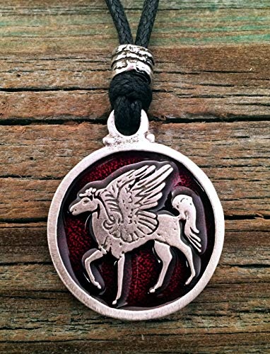 Pegasus Winged Horse Pendant Fine Pewter Red Color