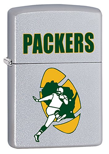 Zippo Lighter - NFL Throwback Green Bay Packers Satin Chrome (Green Bay Packers Zippo Lighter)