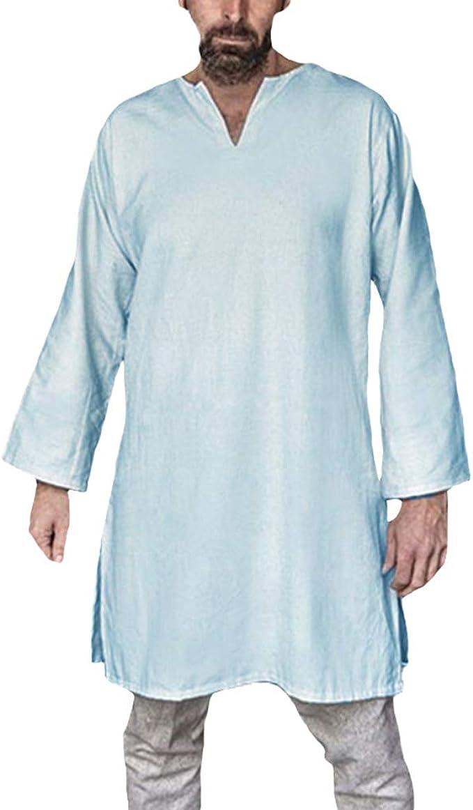 Hombre Étnicas Blusa Vintage Tradicional Camisa Gótico Steampunk Camisa Pirata V-Cuello Lateral De Hendidura T-Shirt para Halloween Carnaval Cosplay: Amazon.es: Ropa y accesorios