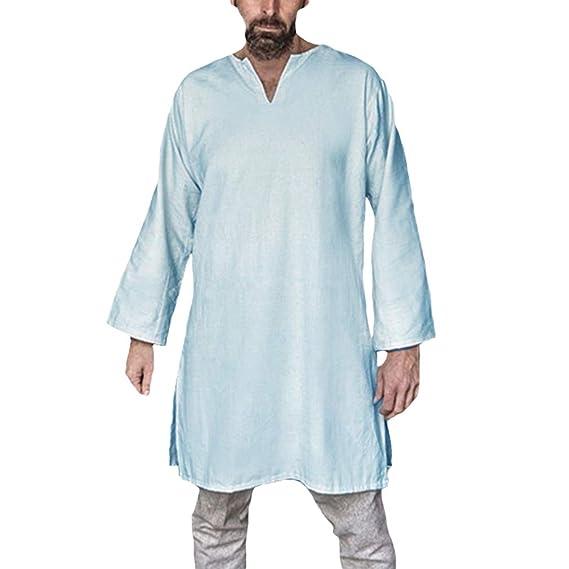 Hombre Medieval Largo Camisa Halloween Actuación Tradicional Traje ...