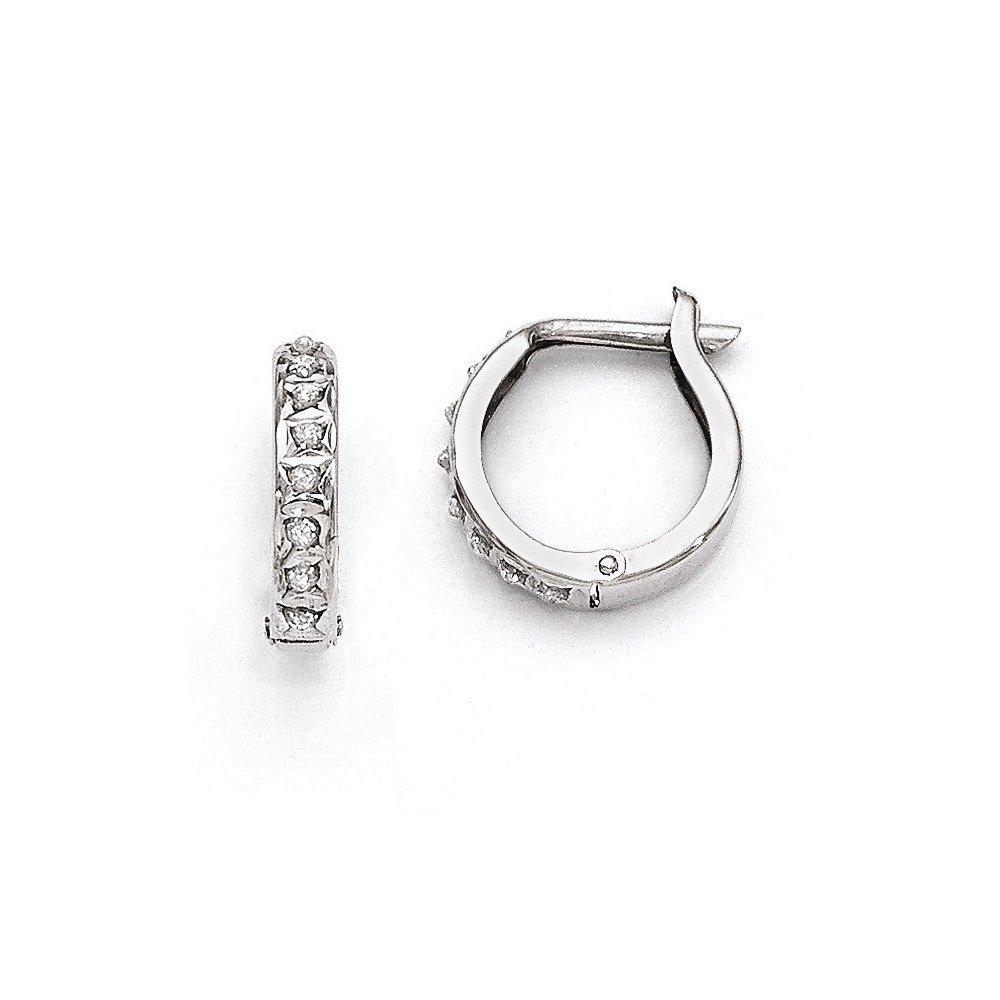 14k White Gold Diamond Fascination Round Hinged Hoop Earrings / Diamond Ctw. 0.01