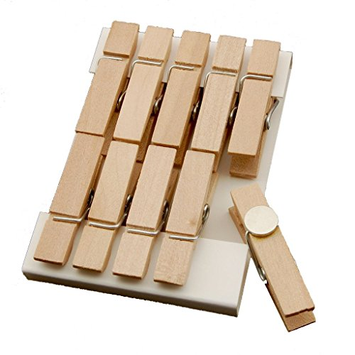 Clothespin Clips Magnet - Summer-Ray 50 Natural Mini Wooden Clothespin Fridge Magnet