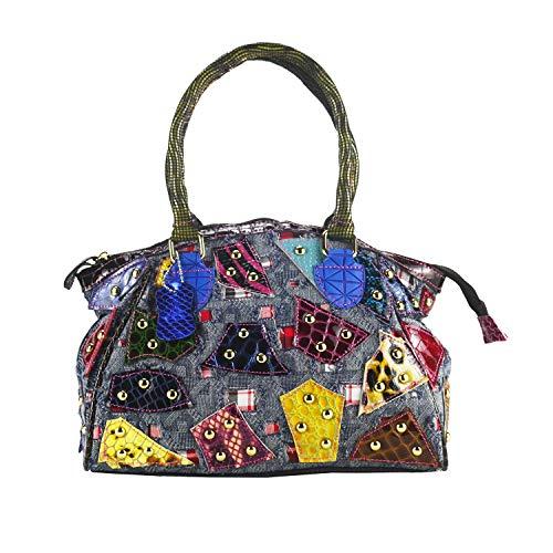 Sibalasi-Original Denim Bag Colorful Cowboy Handbags Rivet Studded Tote Women Jeans Patent Leather Purse (Colorful)