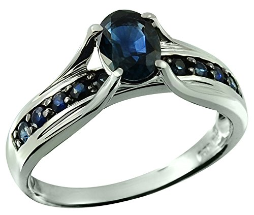 Dark Blue Sapphire 1.39 Carats Sterling Silver Ring (9) Dark Blue Sapphire Ring