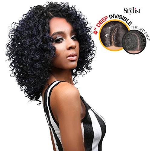 (The Stylist Synthetic Lace Front Wig Deep Lace Curved Part Spicy Curl (1B))