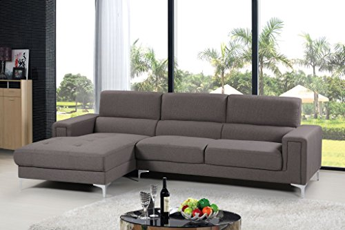 Container Direct Sydney Mid-Century Sectional Sofa with Left-Facing Chaise, Grey