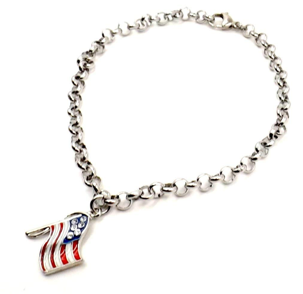 American Flag Anklet Patriotic Ankle Bracelet Men in Motion Collection All Sizes