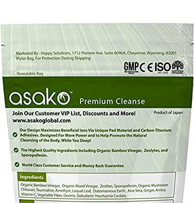 #1 Best Detox Foot Pads on Amazon by Asako ® ● Includes Certified Organic & PATENTED Ingredients For the Purest Cleanse ● Carbon Titanium Adhesives For Maximum Beneficial Ions ● Money Back Garantee