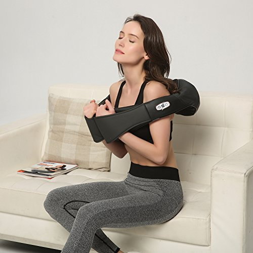 Back Massage, Perfect for Car/Office Chair – Massages Neck, Shoulder, Back, Waist with Heat (Black)