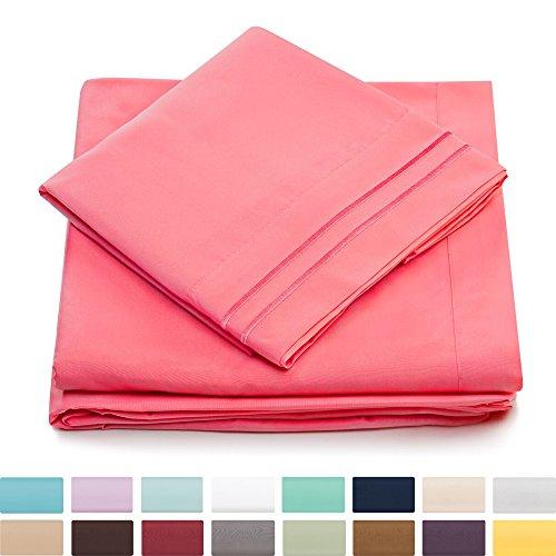 Split King Bed Sheets - Brink Pink Luxury Sheet Set - Deep P