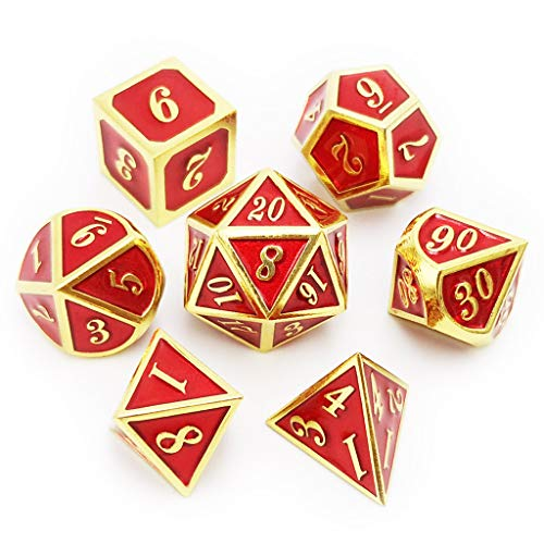 Haxtec 7PCS Metal Dice Set Gold Red DND Dice for Dungeons and Dragons Games-Glossy Enamel Dice (Gold Red)