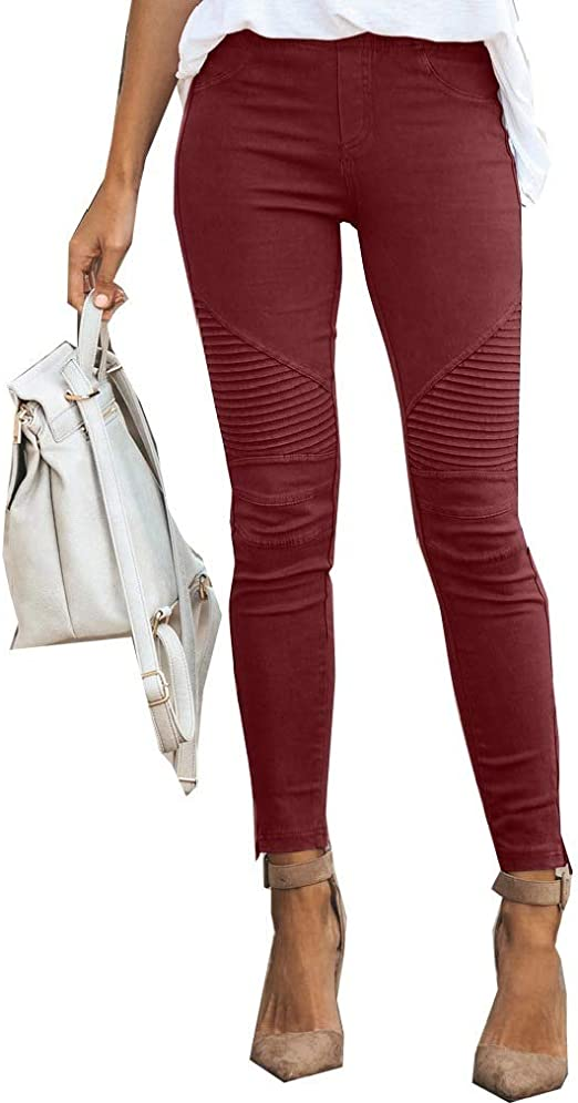 EnergyWD Women's Skinny Slim-Fit Casual Elastic Jegging Zipper Pencil Pants