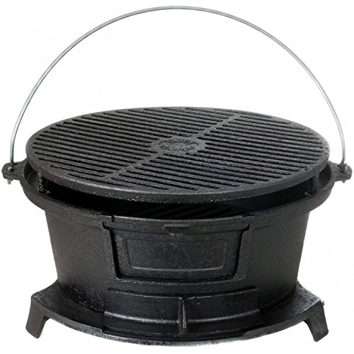 Cajun Cookware Round Seasoned Cast Iron Charcoal Hibachi Grill - Gl10447