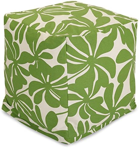 Majestic Home Goods Sage Plantation Indoor Outdoor Bean Bag Ottoman Pouf Cube 17 L x 17 W x 17 H