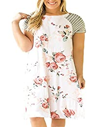 Women's Floral Print Casual Sleeved A-line Loose Plus...