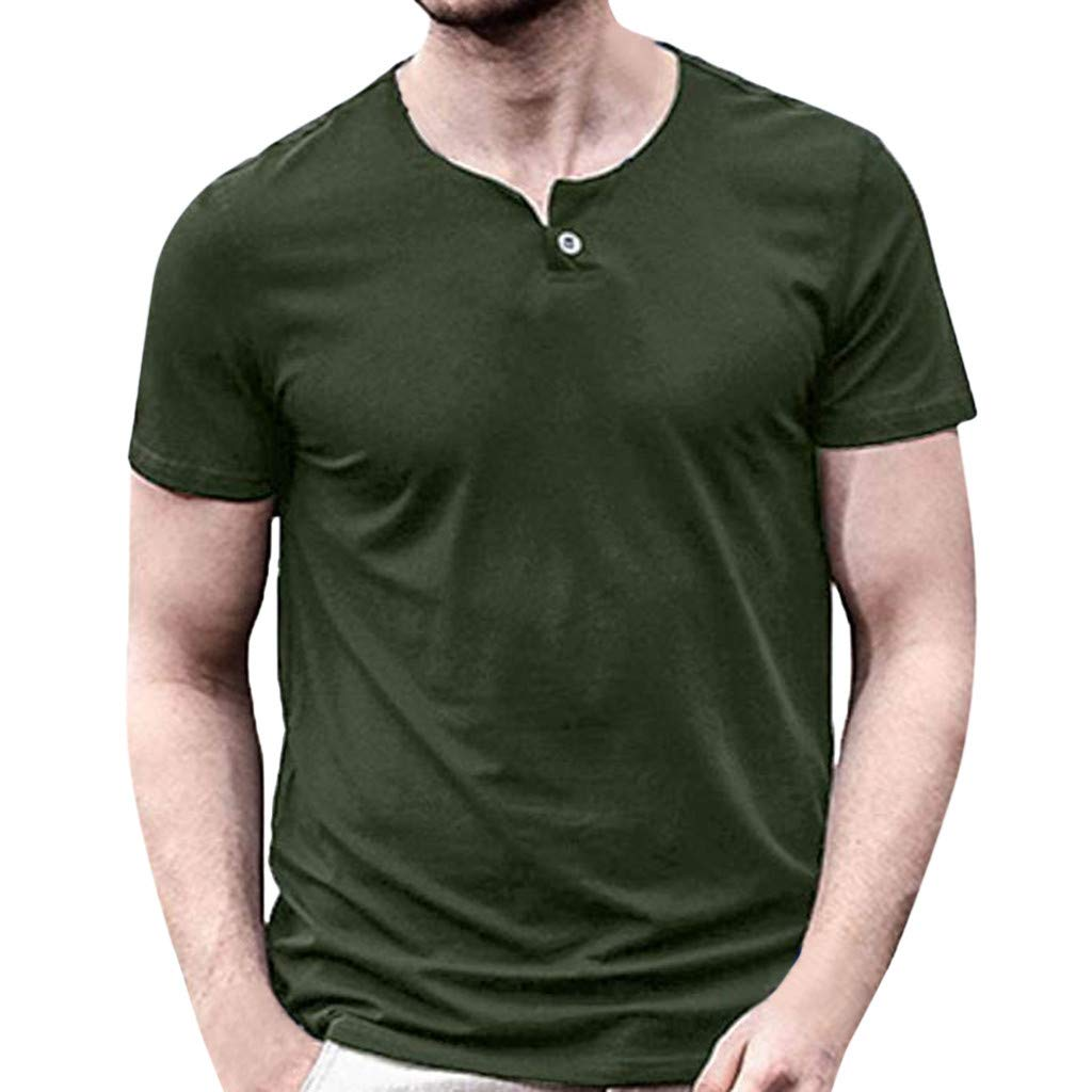 Allywit-Mens Short Sleeve Shirts Henley Slim Fit Lightweight V Neck Casual Cotton Basic T Shirts Army Green by Allywit-Mens (Image #1)