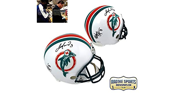 Amazon.com  Dan Marino   Mark Clayton Autographed Signed Miami Dolphins  Riddell Throwback Full Size NFL Helmet  Sports Collectibles 5f65fe1e1