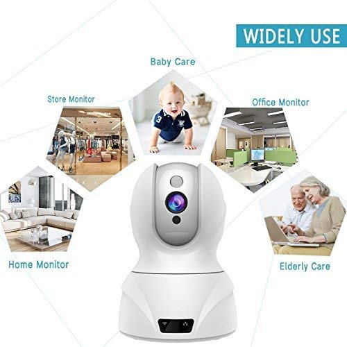 Topgio 1080P Wlan IP Camera, Wireless Home Security Camera, WiFi Surveillance Security System Video Recording Dome Camera, Monitor for Baby & Pet (1080P, White)