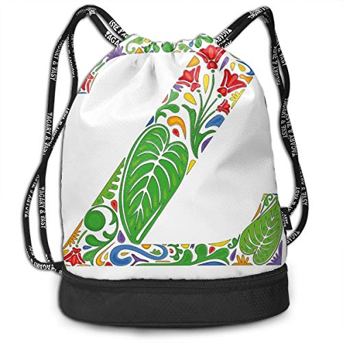 26d9d15c2fbe5 Multifunctional Drawstring Backpack for Men & Women, Floral Alphabet  Typography Font Design Nature Inspired Z Summertime Garden Theme