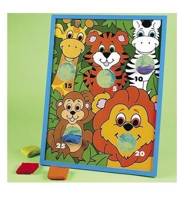 Fun Express Jungle Animal Kids Beanbag Toss Game for Zoo Themed Parties by Fun Express (Bag Toss Bean Animal)