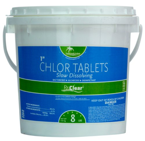 Rx Clear 1-Inch Stabilized Chlorine Tablets | One 8-Pound Bucket | Use As Bactericide, Algaecide, and Disinfectant in Swimming Pools and Spas | Slow Dissolving and UV Protected