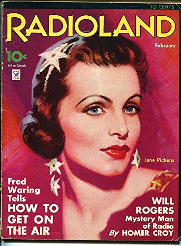 Radioland 2/1935-Fawcett-early radio mag-Jane Pickens-Will Rogers-pix-info-VG (Radio Mag)