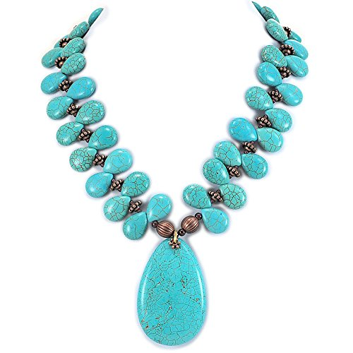 002 Ny6design Blue Magnesite Turquoise & Large Pendant Necklace w Silver Plated Toggle 18