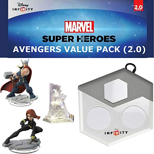 Wii Base - Disney Infinity: Marvel Superheroes (2.0 Edition) The Avengers Value Pack: Thor and Black Widow Figures, Avenger's Tower Set Piece, and Disney Infinity Portal Base (For Wii, Wii U, Playstation 3 + 4)
