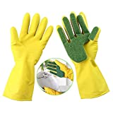 Gold Happy 1Pair Reusable Kitchen Cleaning Gloves Sponge Fingers Latex-made Household Use for Dishwashing