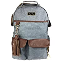 Itzy Ritzy Diaper Bag Backpack – Large Capacity Boss Backpack Diaper Bag Featuring Bottle Pockets, Changing Pad, Stroller Clips and Comfortable Backpack Straps, Handsome Heather Gray