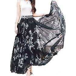 Afibi Women Full/Ankle Length Blending Maxi Chiffon Long Skirt Beach Skirt (Large, Design A)