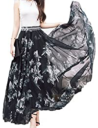 7b1dbb43d5 Women Full/Ankle Length Blending Maxi Chiffon Long Skirt Beach Skirt