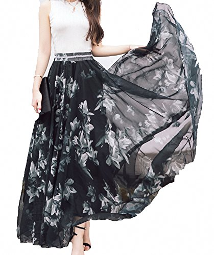 - Afibi Women Full/Ankle Length Blending Maxi Chiffon Long Skirt Beach Skirt (3XL, Design A)
