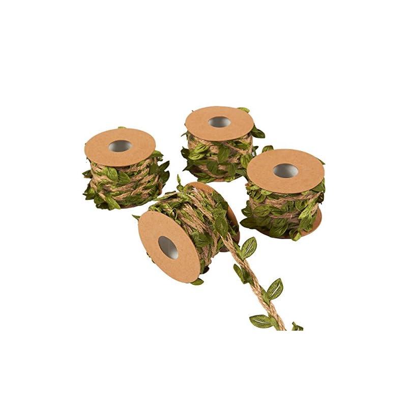 silk flower arrangements burlap leaf ribbon for jungle birthday party, 16.4 ft vine garland (4 rolls)