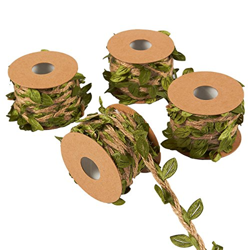 Juvale Jute Burlap Twine Vine with Artificial Leaves Garland for DIY Crafts and Decor (4 Rolls)]()