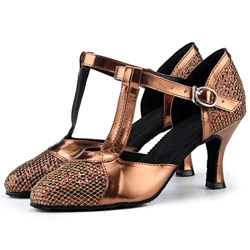 Para Bronze MiyooparkUK 5cm 7 Miyoopark HW180308 Heel Danza Zapatillas de Mujer qX1Udw0