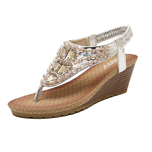 DophinGirl Chic Women Glitter Sandals Silver Jewels Rhinestone Wedge Platform Comfy String Summer Beach Thong T-Strap Shoes - Fancy Jewel