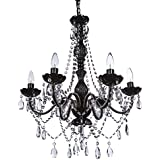 "The Original Gypsy Color 6 Light Large Crystal Black Chandelier H26"" W22"", Black Metal Frame with Clear Acrylic Crystal"