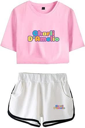 ZYPPX Dames Tiener Meisjes Charli D'amelio Crop Top En Shorts T-Shirt Set Sportwear Trainingspak