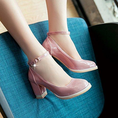 Cinturino Alla Caviglia Con Cinturino Alla Caviglia Brunito Alla Moda Donna Easemax Tacco Medio In Chunky Rosa