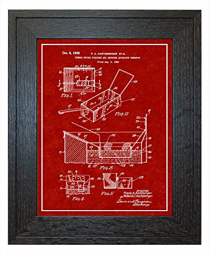 French Fry Deep Fryer Patent Art Burgundy Red Print with a Border in a Rustic Oak Wood Frame (18