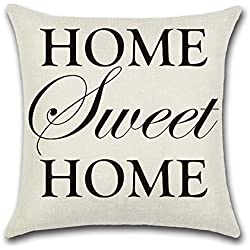 """YANGYULU Quote Words Cotton Linen Home Decorative Throw Pillow Case Sofa Cushion Cover 18"""" x 18"""" (HOME Sweet HOME)"""