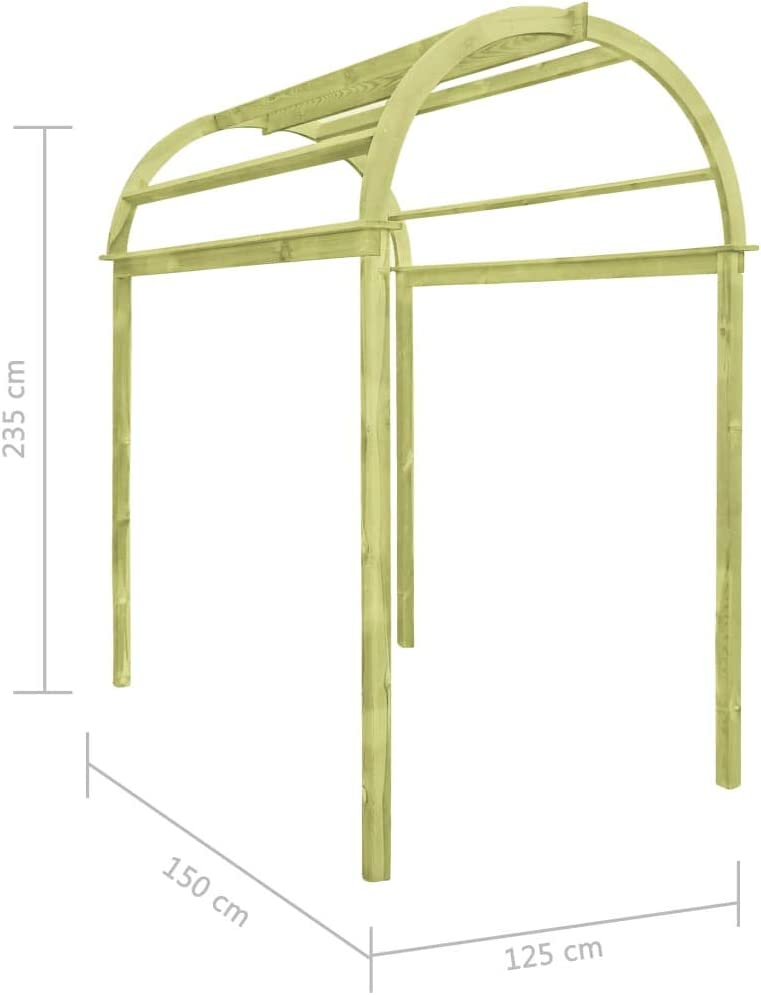 Tidyard Arco Enrejado de Madera de Pino impregnada 125x150x235 cm Pérgola para Jardín con Techo Inclinado de Madera: Amazon.es: Hogar