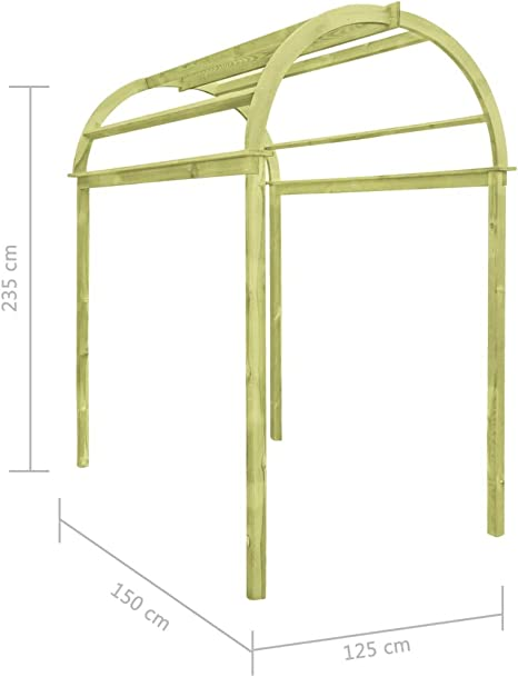 Goliraya Garden Pergola Patio Trellis Arch Plants Climbing 125x150x235 cm Impregnated Pinewood