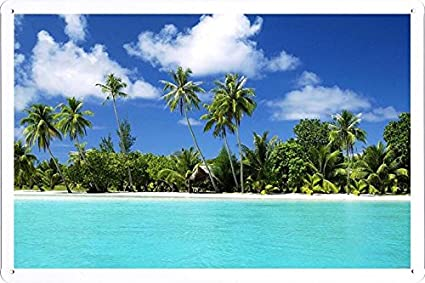 Tin Sign Poster Tropical Beach Paradise Xcm By Nature Scene Painting