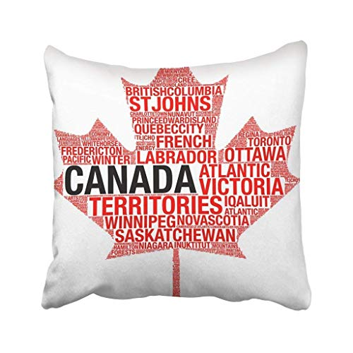 SHrnPillowcase Throw Pillow Cover Polyester Red Collage Maple Leaf Silhouette Canada Flag Detail Tag Cloud White Map Montreal Toronto Cushion Decorative Pillowcase Square Throw Pillow -