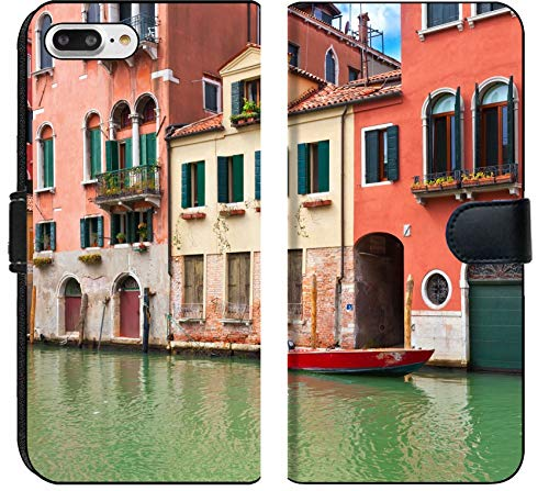 (Luxlady iPhone 8 Plus Flip Fabric Wallet Case View of Beautiful Colorful Venetian Canal Venice Italy Image ID 25143357)