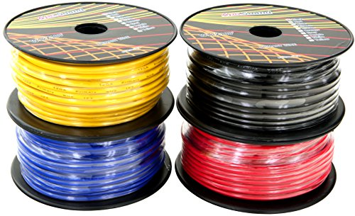 Light Cable Spools (GS Power 12 Gauge Ga, 4 Rolls of 100 Feet (400 ft total) Primary Wire. CCA Cable for Car Audio Video Amplifier Remote Turn on Automotive Trailer Signal Light Wiring. Color: Black Red Blue Yellow)